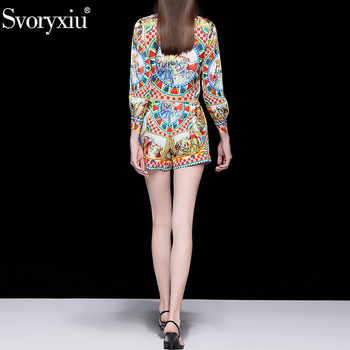 Svoryxiu Fashion Runway Summer Shorts Two Piece Set Women\'s Vintage Printed Long Sleeve Blouse + Shorts Casual Sets Female