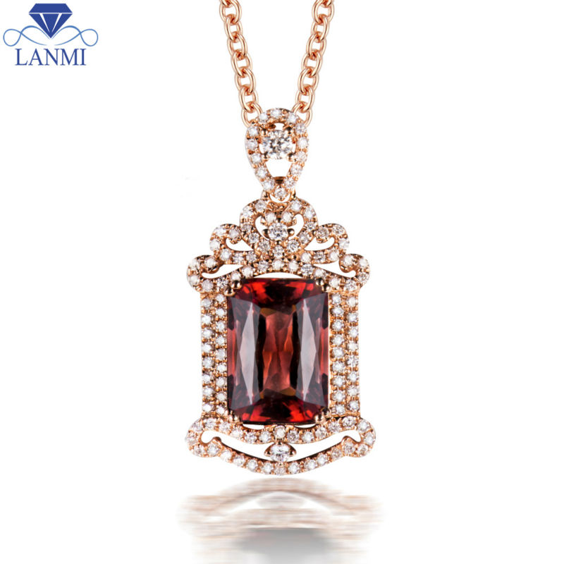 Luxury 18k Gold Natural Pink Tourmaline Pendant With Diamond Emerald Cut 11.02x7.77x5.72mm For Party WP078Luxury 18k Gold Natural Pink Tourmaline Pendant With Diamond Emerald Cut 11.02x7.77x5.72mm For Party WP078