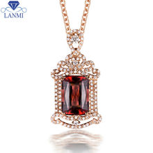Luxury 18k Gold Natural Pink Tourmaline Pendant With Diamond Emerald Cut 11.02×7.77×5.72mm For Party WP078