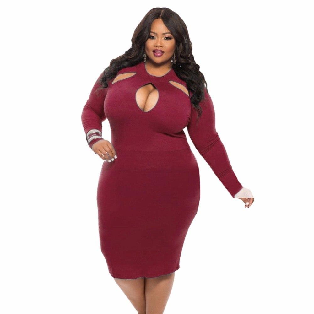 2017 nueva moda de verano vestido de las mujeres más tamaño color sólido hueco sexy manga larga de cuello redondo partido Bodycon rodilla vestido HD008