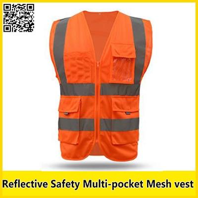SFvest Orange Reflective Mesh Vest Multi-pocket Safety Vest With Reflective Stripes Mesh  Vest Safety Workwear Free Shipping