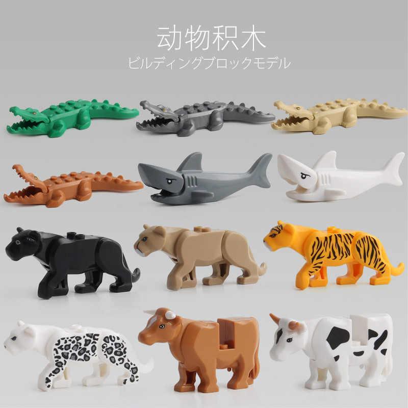 動物のためのパンサー雪ヒョウワニ虎動物牛牛馬サメモデルビルディングブロックセットレンガキットレンガのおもちゃ