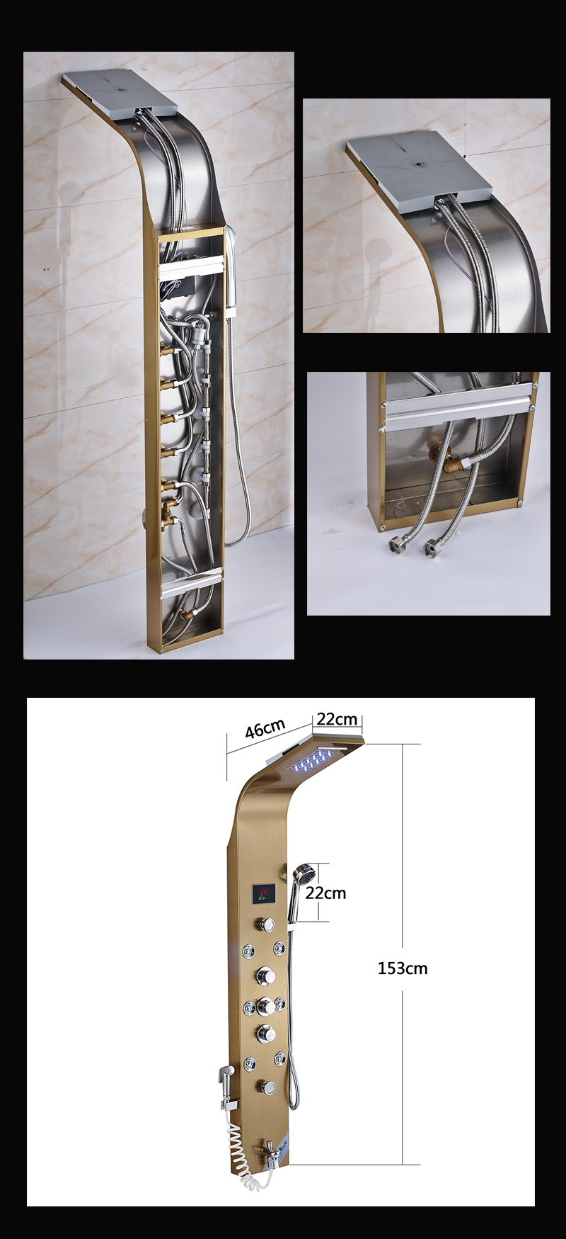 Bathroom Golden Shower Column Panel Wall Mount Digital Temperature Screen led light Shower Faucet System Massage Jet Shower Set