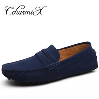 Men Casual Suede Loafers Spring Black Leather Driving Moccasins Gommino Slip On Men Velvet Loafers Shoes