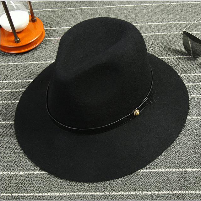 Panamá Sombreros de Moda Moda Vintage Mujeres de Playa Sombrero de Ala Ancha Sombreros de Sun Mujeres Ondas de Lana Pura Gran Sombrero de Ala Ancha