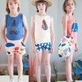 Новый Стиль Детские топы дети жилет мальчиков летом Бак 2016 девушки красивые девушки фрукты печатных футболку мальчиков одежда футболка JW-099