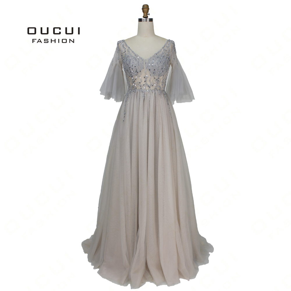 Sexy Half Puff Sleeves   Prom     Dresses   2019 New Spring Tulle V-Neck Beading Sequined Plus Size Party   Dress   Gowns Oucui OL103378