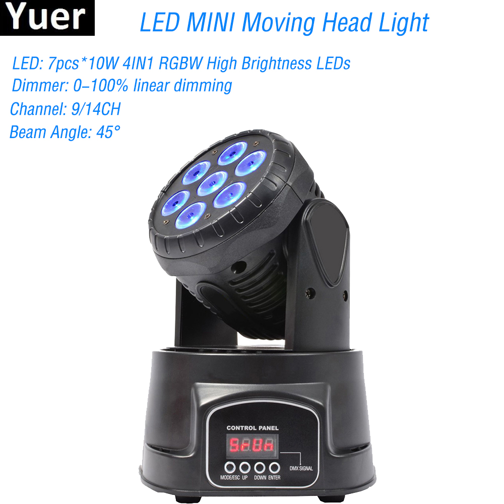 MINI Moving Head LED Wash Stage Lighting 7x10W RGBW 4IN1 Professional DMX512 For Disco DJ Music Party KTV Nightclub Lights moving head led wash stage lighting 7x18w rgbwa uv 6in1 birthday dmx512 for disco dj music party ktv nightclub lights
