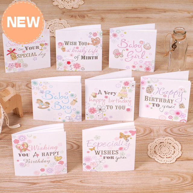 Cute New Baby Cards Square Birthday Cards Baby Boy/Girl Gift Cards ...