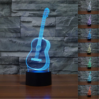Music Bar Decor Colorful Guitar Headset Camera 3D Visual Table Lamp 7 Color Changing CD Alarm
