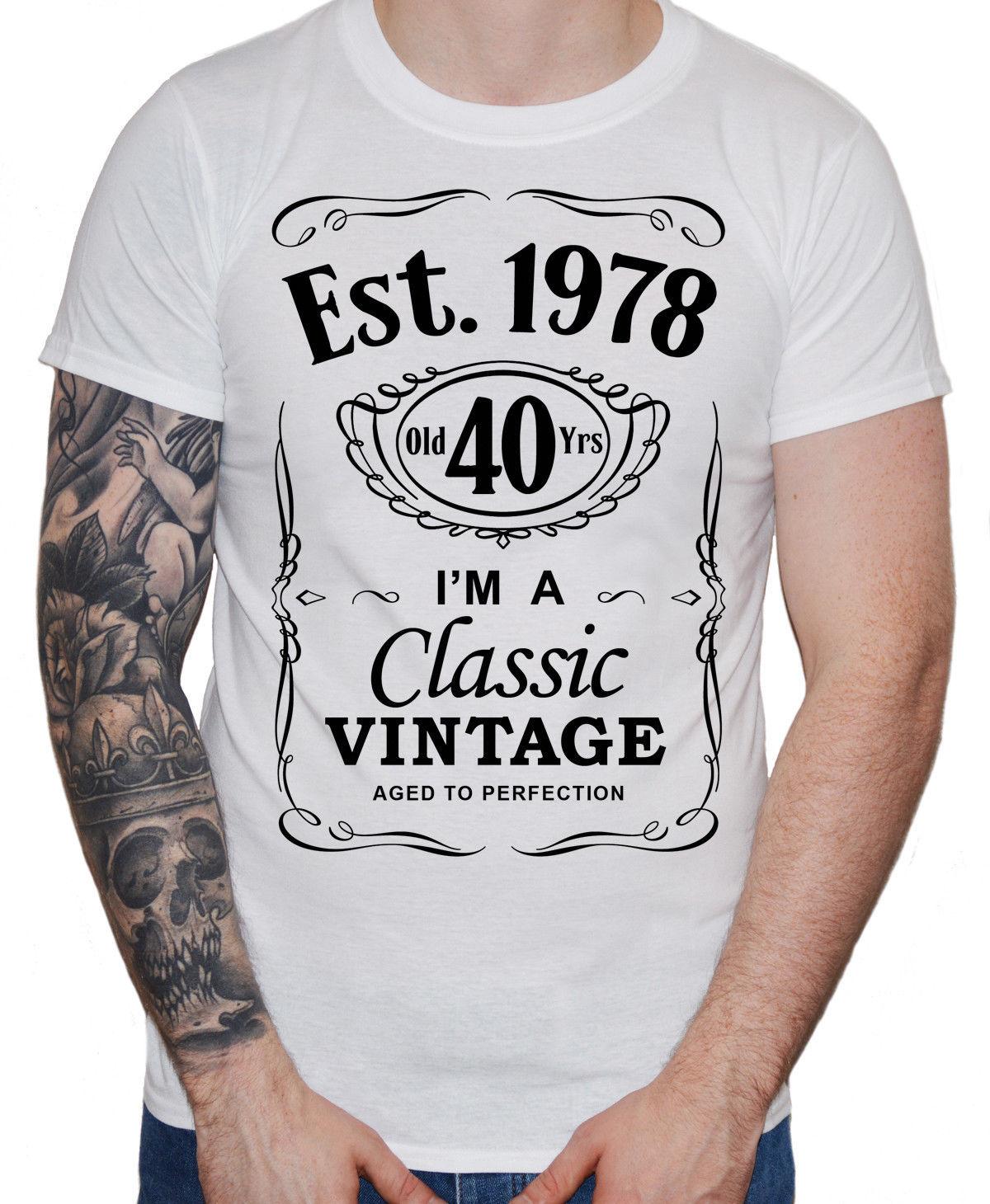 2018 Regalo Hombre 1978 Vintage Nueva Para Años Camiseta Cumpleaños Est Cool 40 0nNwZ8kXOP