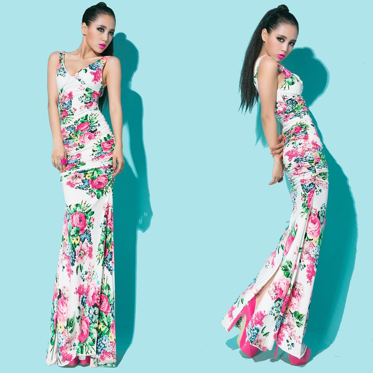 For boss y lady2013 fashion sexy double V-neck low-cut slim waist flower full dress one-piece dress