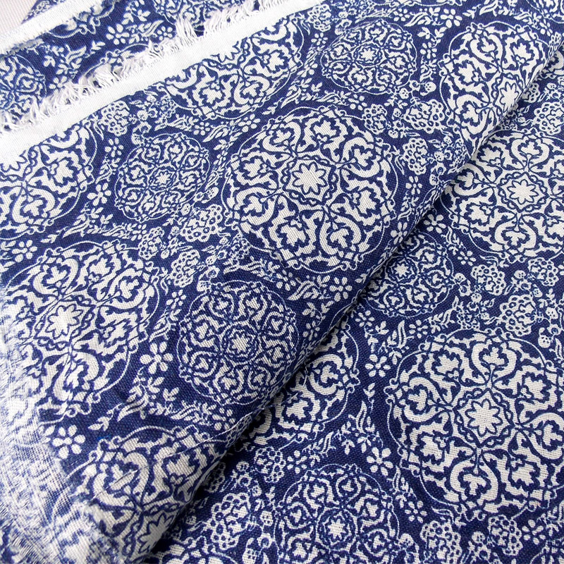 Blue and white porcelain print cotton linen fabric for Decorating with blue and white pottery