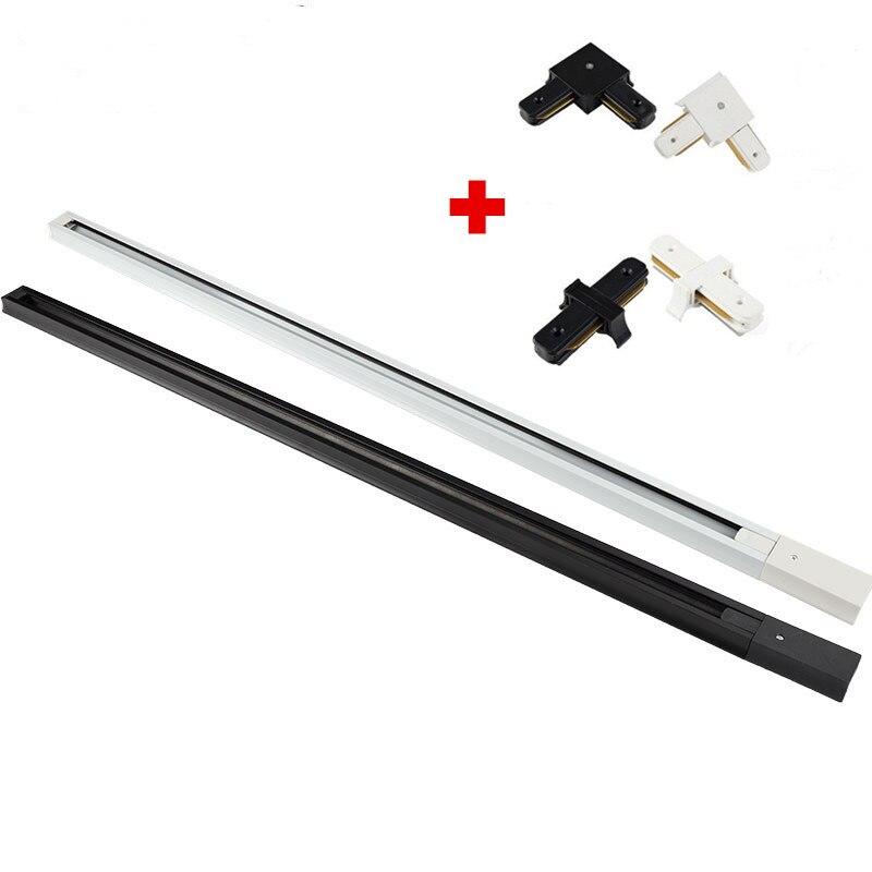 20pcs/lot 1m LED Track Light Rail Aluminum Track Lighting Fixture Rail Universal Rails Track Rail 2 Wire Single Phase Version