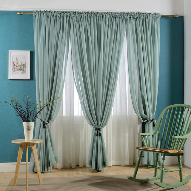 Dark Green Tulle Curtains For Living Room Window