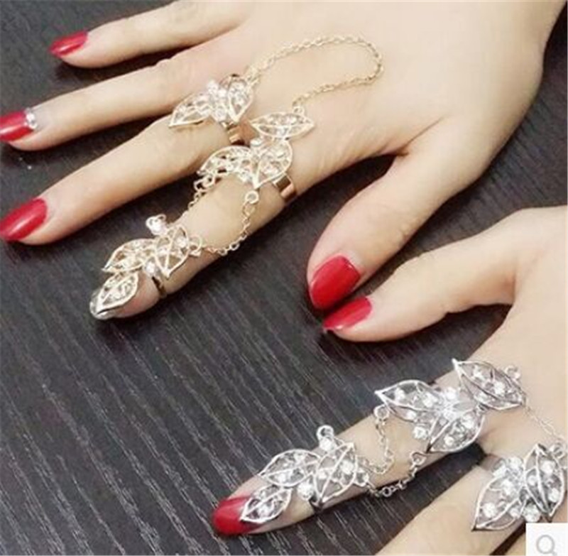 New Brand Gold Silver Micro Pave Crystals Long Leaves Chain Two ...