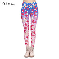 Zohra New Design Women Legging Christmas Symbols Ombre Printing Fitness Leggings High Waist Woman Pants