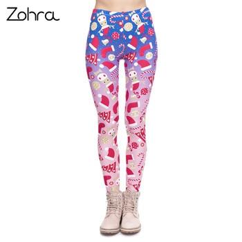 Zohra New Design Women Legging Christmas Symbols Ombre Printing Fitness Leggings High Waist Woman Pants