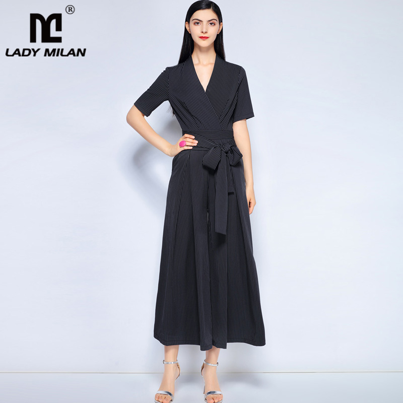New Arrival 2018 Womens Sexy V Neck Short Sleeves Striped Printed Sash Belt Fashion Long Casual Jumpsuits & Rompers