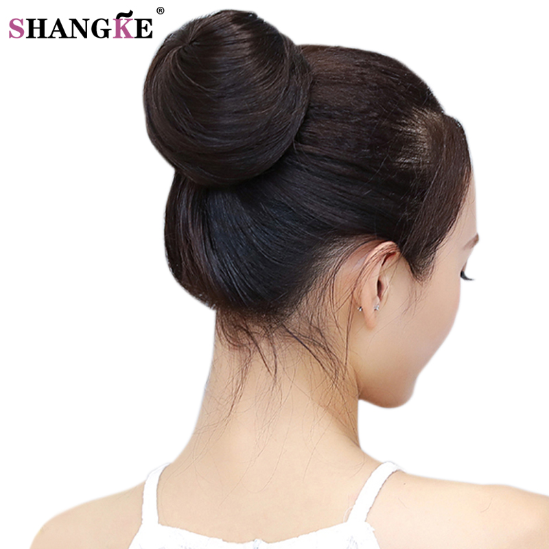 SHANGKE Donut Chignon Bun Clip In Hair Extensions Women Hairstyles Heat Resistant Synthetic Hairpieces