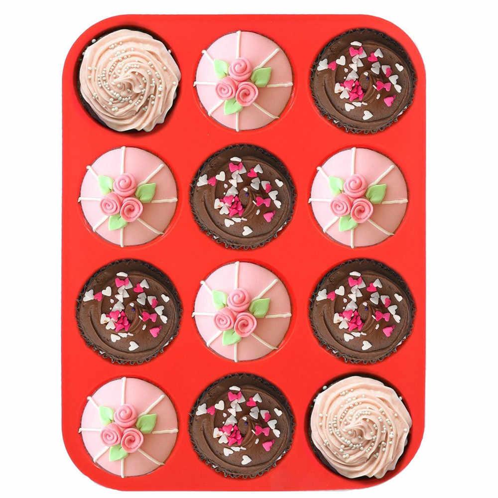 Formy silikonowe 12 szklanki silikonowe muffin babeczka blacha do pieczenia nieprzywierająca zmywarka kuchenka mikrofalowa bezpieczne ciasto forma do pieczenia moule silikonowe