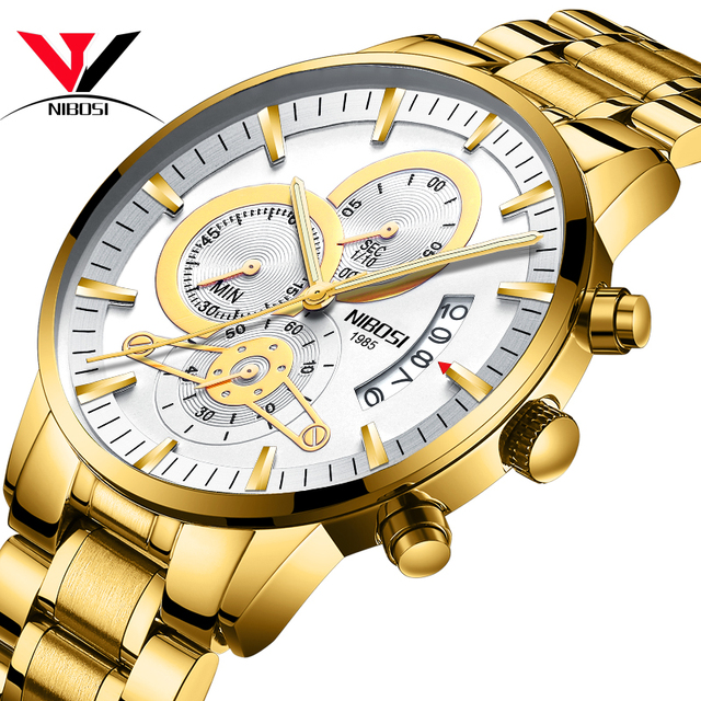 NIBOSI Relogio Masculino Watch Men Gold And Black Mens Watches Top Brand Luxury Sports Watches 2019 Reloj Hombre Waterproof      2