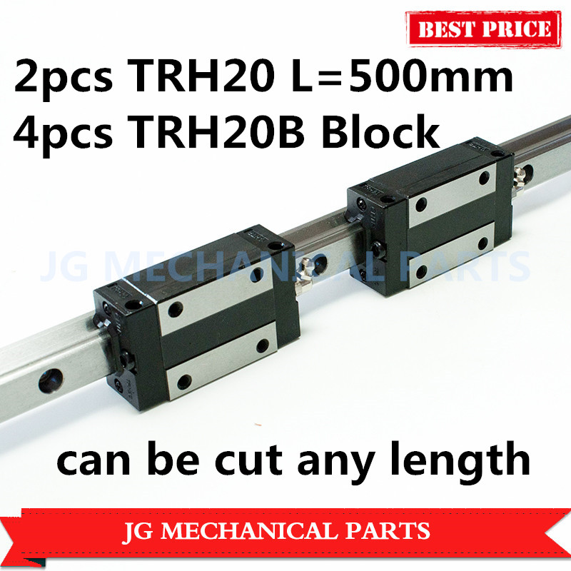 High Precision 20mm linear guide rail 2pcs TRH20 L=500mm with 4pcs TRH20B Square slide block for CNC Router Milling Machine 1 5kw 2 2kw cnc 6090 router engraving machine offline dsp controller system cnc milling machine linear guide rail trh20