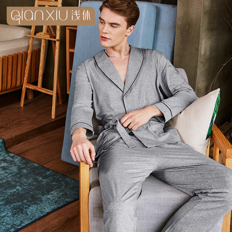 Qianxiu autumn pajamas men cotton gray color lapel Cardigan sleepwear men splicing cuff mens pyjama comfortable