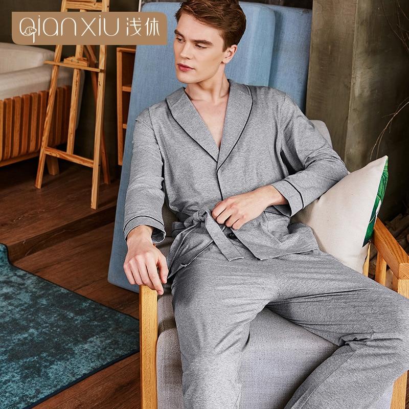 Qianxiu automne pyjamas hommes coton gris couleur revers Cardigan vêtements de nuit pour hommes épissure manchette mens pyjama confortable hommes de nuit