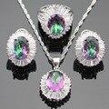 Multicolor Arco Iris de Cristal Blanco de Circonio Cúbico de Color Plata Anillo de Sistemas de La Joyería Para Las Mujeres Pendientes Collar Colgante Caja de Regalo Libre