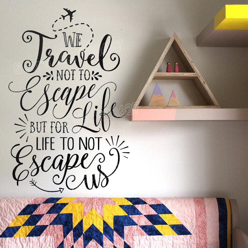 US $7.98 25% OFF|Travel Quote Art Wall Stickers Bedroom Inspiration Words  Vinyl Wall Decals Living Room Home Decor Self Adhesive DIY Decal JW358-in  ...