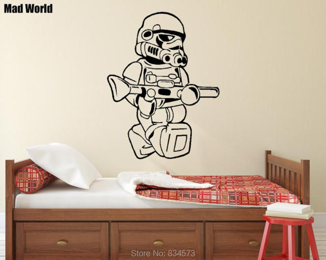 Mad world storm trooper silhouette kids wall art stickers wall decal home diy decoration removable