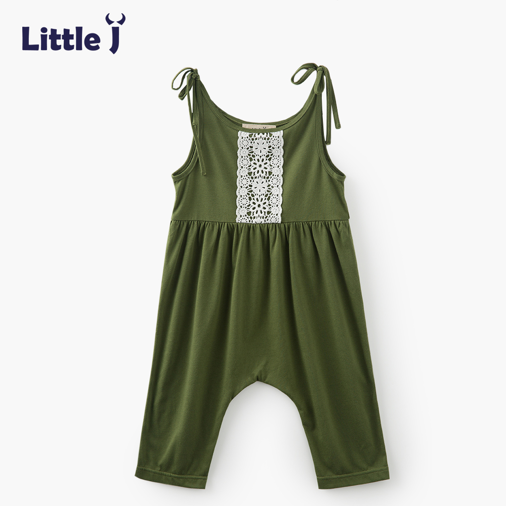 Clearance Girls Dark Green Baby Harem Romper Strap Cotton Overall Trousers Summer Backless Jumpsuit Outfits Clothes Overalls