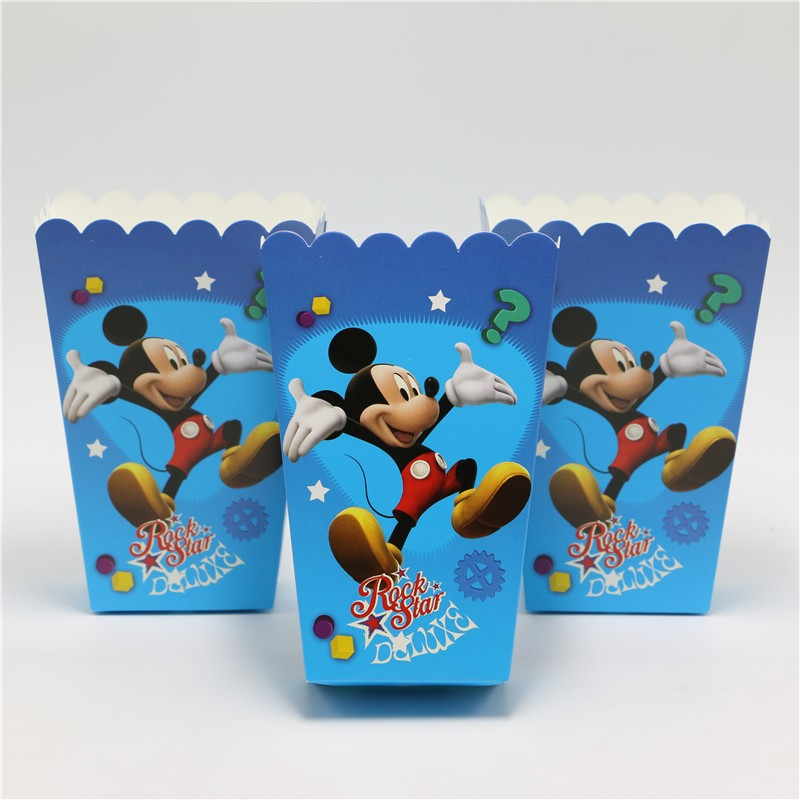 6pcs/lot Disney Mickey Mouse Candy Popcorn Boxes For Wedding Party Supply Party Popcorn Bags Kids Favors Disposable Package