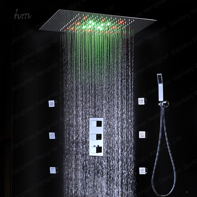 European Shower Jet System 360*500mm Wall Panel Embeded Ceiling Rainfall  Shower Head Set With
