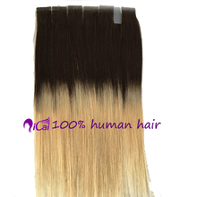 T1b/#613Tape Hair Extension Brazilian Virgin Remy Human Hair Silk Straight Skin Weft Ombre 2 Tone Blonde Tape In Hair Extension