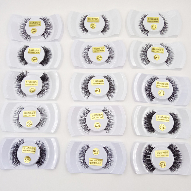 12 pairs Professional False Eyelashes 100% Mink Hair Handmade Fashion Beauty Cosmetic Tools 15 types optional Makeup Essential
