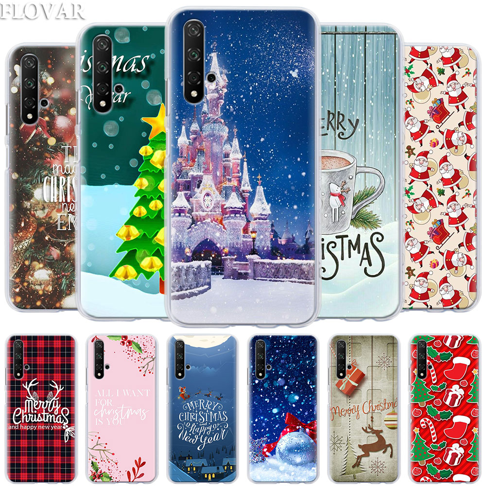 Phone <font><b>Case</b></font> coque for <font><b>Honor</b></font> 20 Pro <font><b>9</b></font> 10 <font><b>Lite</b></font> 8X 8A 8C 8S 7A 7S Y7 Y9 2019 V20 Cover happy New Year Christmas snowflake Hard PC Ca image