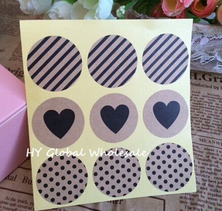 90pcs  Vintage Fashion Heart+Dots+Twill  series Round Kraft paper  Sticker for Handmade Products Gift seal sticker label
