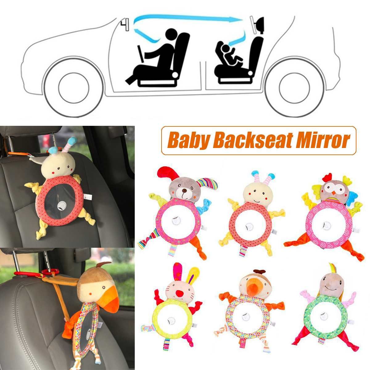 Sight Mirrors Facing Car-View Infant Newborn-Baby Backseat Kids Rear Adjustable For Animal