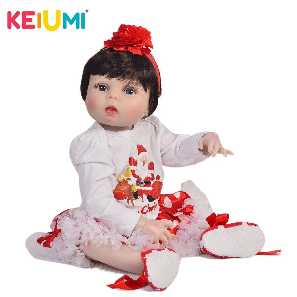 Culturale 23 pollice Silicone Pieno Baby Doll 100% Fatti A Mano Realistica Reborn Neonati Ragazza Giocattolo Per Il Capretto Regalo Di Natale di Andare A Dormire Compagno di Giochi