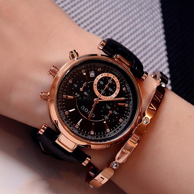 패션 GUOU 브랜드 리얼 3 눈 방수 가죽 또는 로즈 골드 스틸 아날로그 캘린더 손목 시계 여성용 손목 시계 여자
