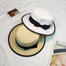 HT915 Women Boater Sun Caps Ribbon Bow Round Flat Top Straw Fedora Panama Hat Summer Hats for White Beach