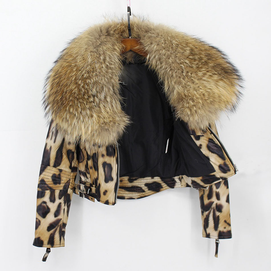 women 100% genuine sheepskin leather jacket with big raccoon fur collar (4)