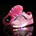 2017 Nova Criança Meninas e Meninos Juniores LEVOU crianças Luz sapatilhas com rodas de roller skate shoes para crianças crianças luminosa USB