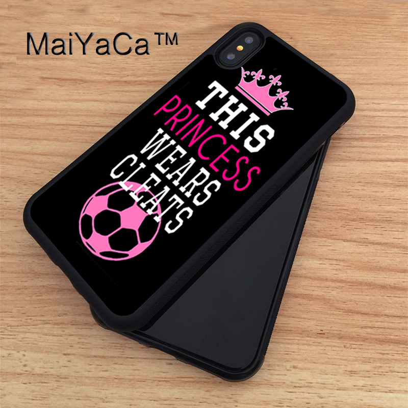 MaiYaCa Soccer Girl Pink Futbol Ball Quote Printed TPU Case For iphone X Full Protective Cover For Apple iphone X Phone Cases