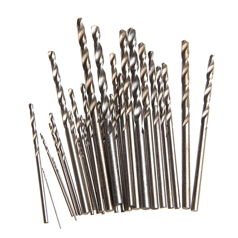 28Pcs Mini Micro HSS Twist Drill Bits Set Metric Sizes 0.3-3.0mm For PCB Crafts -Y103