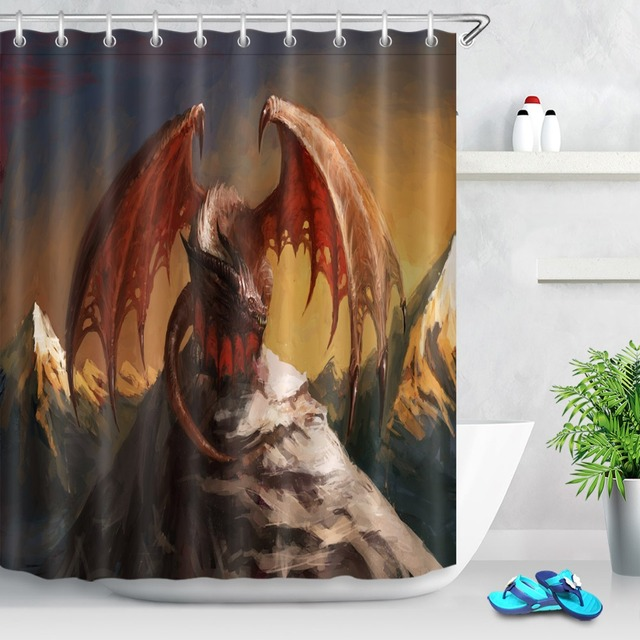 LB 3d Funny Dragon Mountain Fairy Bathroom Shower Curtain With Mat Set Custom Waterproof Fabric For Art Kids Boy Bathtub Decor