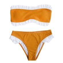 Купить с кэшбэком Bikinis 2019 stitching lace sexy bikini Women solid color Push up split swimsuit lotus leaf swimming female Beachwear Swimwear
