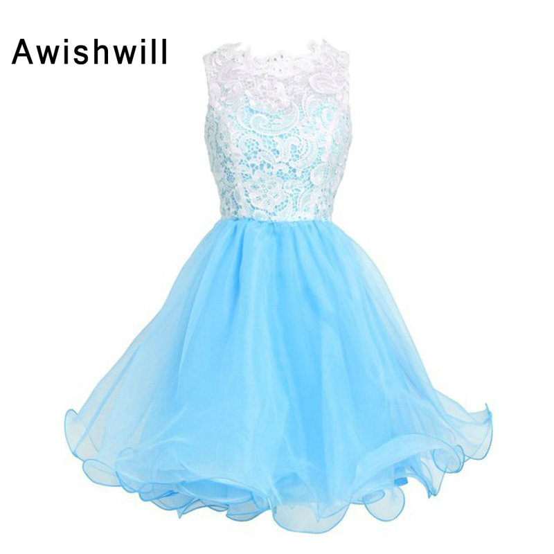 New Style Mini Party   Dress   Prom   Cocktail     Dress   Scoop Neckline A-Line Organza Lace Homecoming   Dress   Grils Gowns